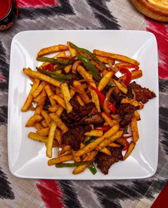 Картофель фри с мясом
